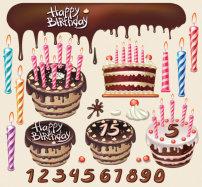 素材/漂亮生日蛋糕主题矢量素材