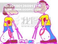 卡通/插画 卡通人物打扫卫生 捡东西...